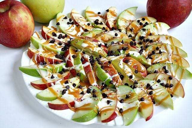 Apple nachos are a quick and simple, no-bake snack.