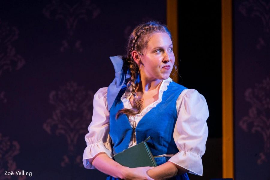 Zoë Velling as Belle in Barter's version of Disney's Beauty and the Beast Jr. (https://bartertheatre.com/big-shows/disneys-beauty-and-the-beast-jr-at-the-moonlite/)