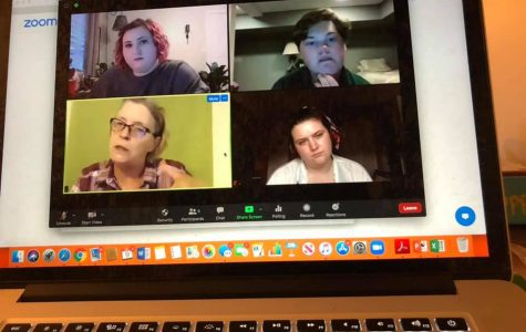 The cast, director, and playwright of Picket Fences in a rehearsal over Zoom.