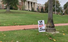 A sign in support of the Black Lives Matter movement and social advocacy, with Wiley Hall in the background, one of many student projects from Bremner's class.