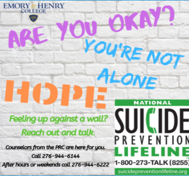 A graphic from Emory & Henry College's Powell Resource Center advertising information regarding campus mental health care; photo courtesy of ehc.edu.
