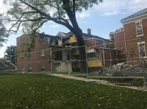 Matthews Hall at Emory & Henry College, a building that has stood since 1953, has been demolished to make way for the new School of Business.