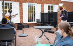 Members of Rosewater perform a socially-distant set for the Emory & Henry College community on the Van Dyke patio; photo courtesy of E&H on Instagram @emoryhenry.