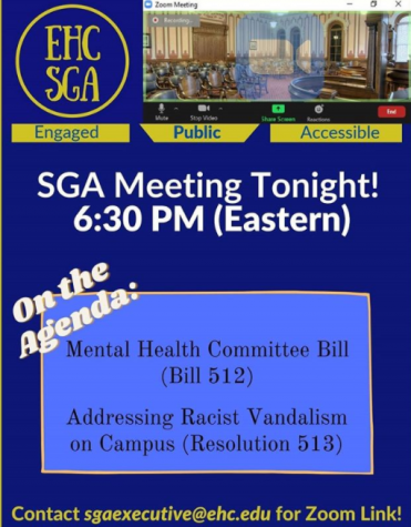 A virtual flyer announcing the most recent meeting of the Emory & Henry College Student Government Association; courtesy of the E&H SGA on Instagram, @ehc_sga. For future meeting agendas and links, information can be found there.