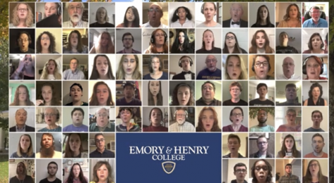 The 76-member virtual choir performs during Emory & Henry College