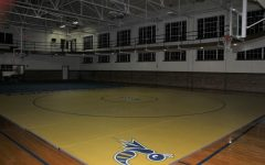 The second floor of Martin Brock, above the Hut, has been renovated into a practice area for the new wrestling team. On the far side of the gym, wrestling mats can be seen.