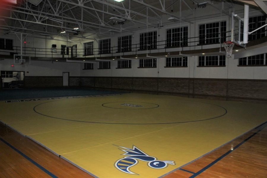 The+second+floor+of+Martin+Brock%2C+above+the+Hut%2C+has+been+renovated+into+a+practice+area+for+the+new+wrestling+team.+On+the+far+side+of+the+gym%2C+wrestling+mats+can+be+seen.