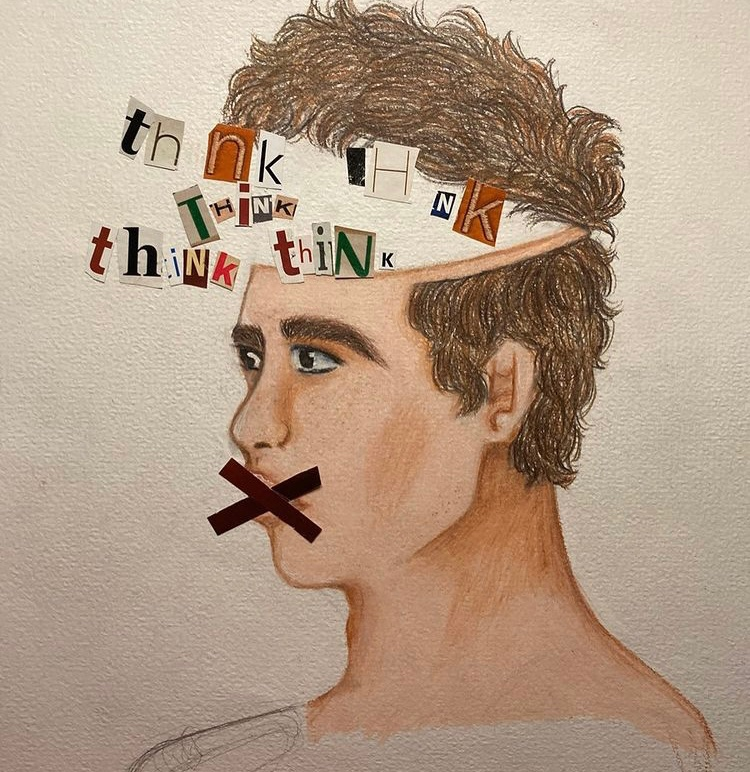 A piece of Jenny DiTanna's art from her series on how COVID-19 is affecting a person's mental health.