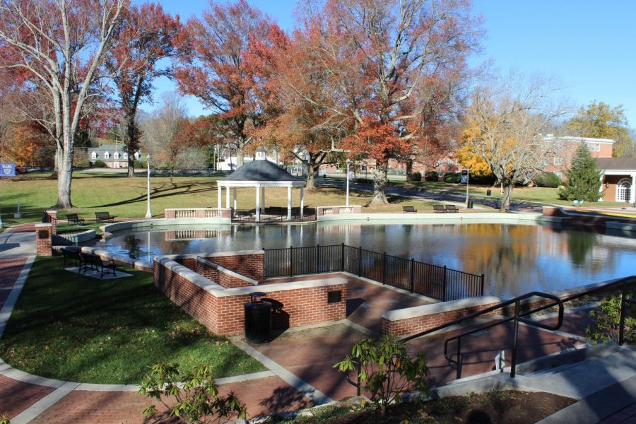 The Emory & Henry College duck pond, recently renovated in 2018, where SGA Senator Sandra Coffee hopes to install a coin-operated duck feeder.