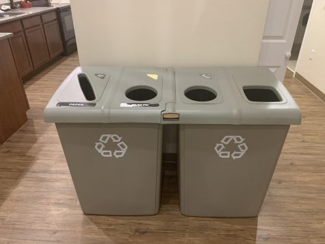 Recycling bins, like this one in Carter Residence Hall, are empty as there is no access to paper or plastic recycling in the county. Only recycling aluminum is an option for now, so the ECC encourages decreasing the use of single use plastic and paper.
