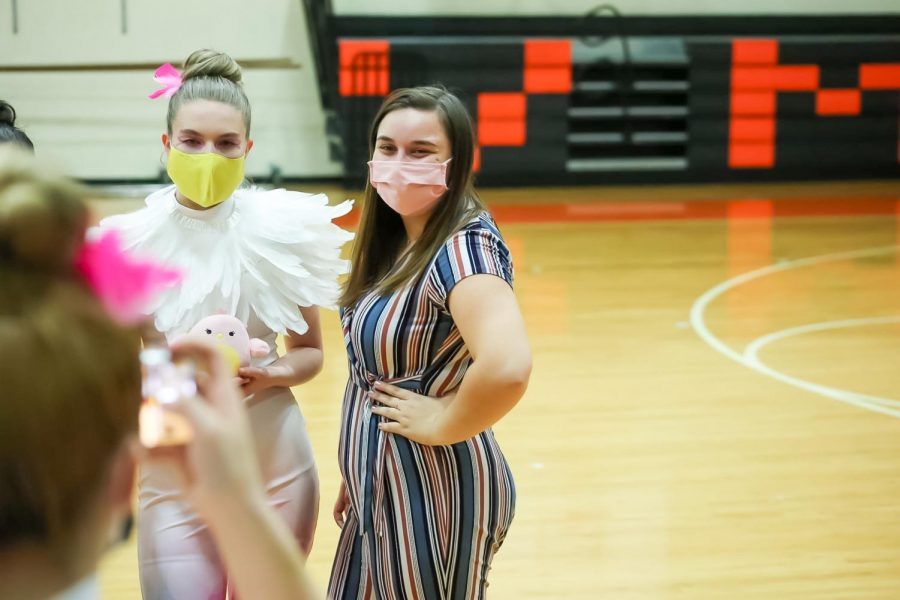 Hannah Kestner and one of her students; a member of Virginia High School's winter guard.