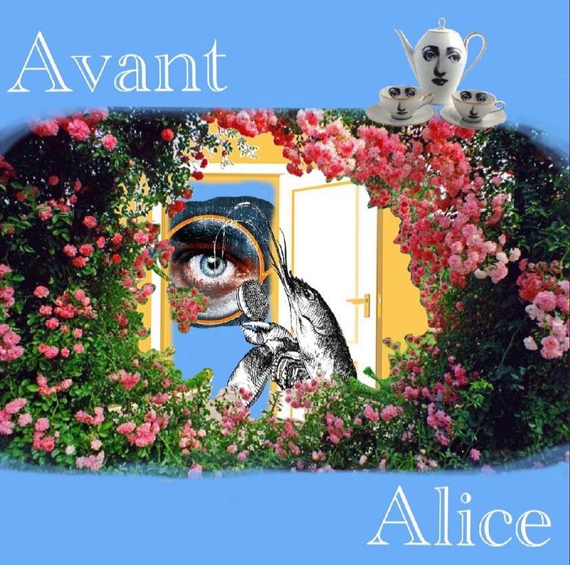 A graphic for Avant Alice, a senior showcase via Zoom by Mary Eliza Hendricks.