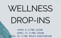 A graphic of the times and dates of the Student Wellness Drop-ins, events held by the Student Success Office in an attempt to help students during the end of the semester.
