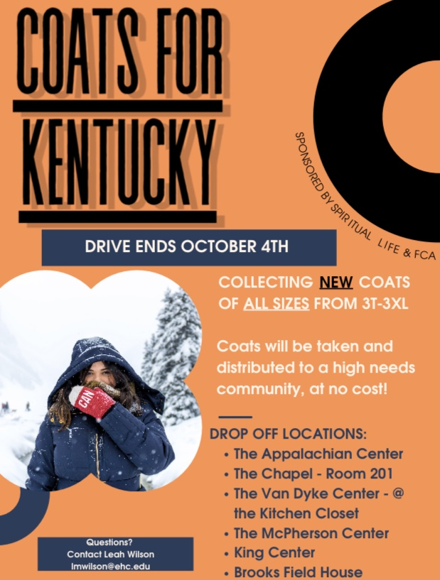 Coats for Kentucky, a coat drive led by multiple E&H organizations, hopes to provide aid to people in Eastern Kentucky during the cold months ahead. Photo courtesy of Leah Wilson, coordinator of civic life at the Appalachian Center for Civic Life.